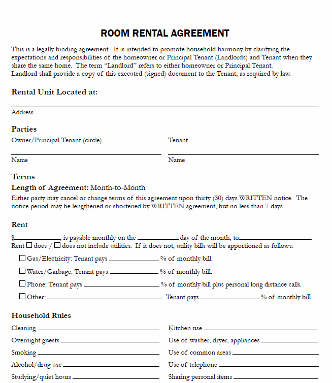 room and board agreement template free printable room rental