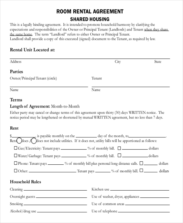 room rental agreement template room rental agreement template free