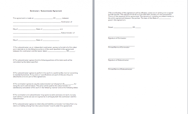 Contractor Subcontractor Agreement Form | Gratulfata