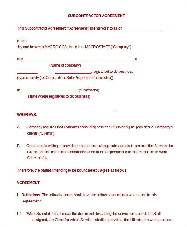 Subcontractor Agreement 11+ Free Word, PDF Documents Downlaod
