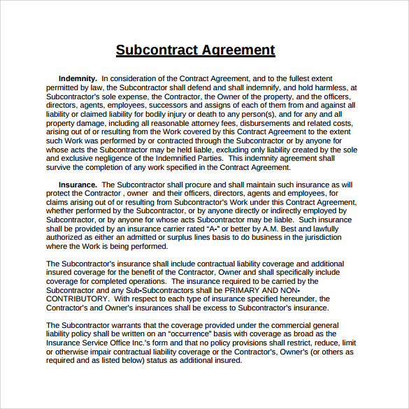 15+ Sample Subcontractor Agreements | Sample Templates