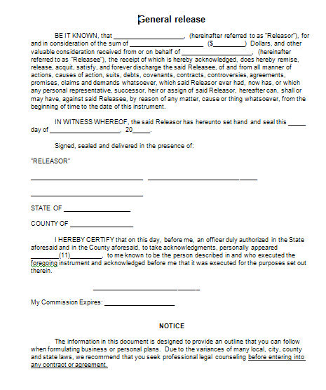 personal release agreement template sample general release form