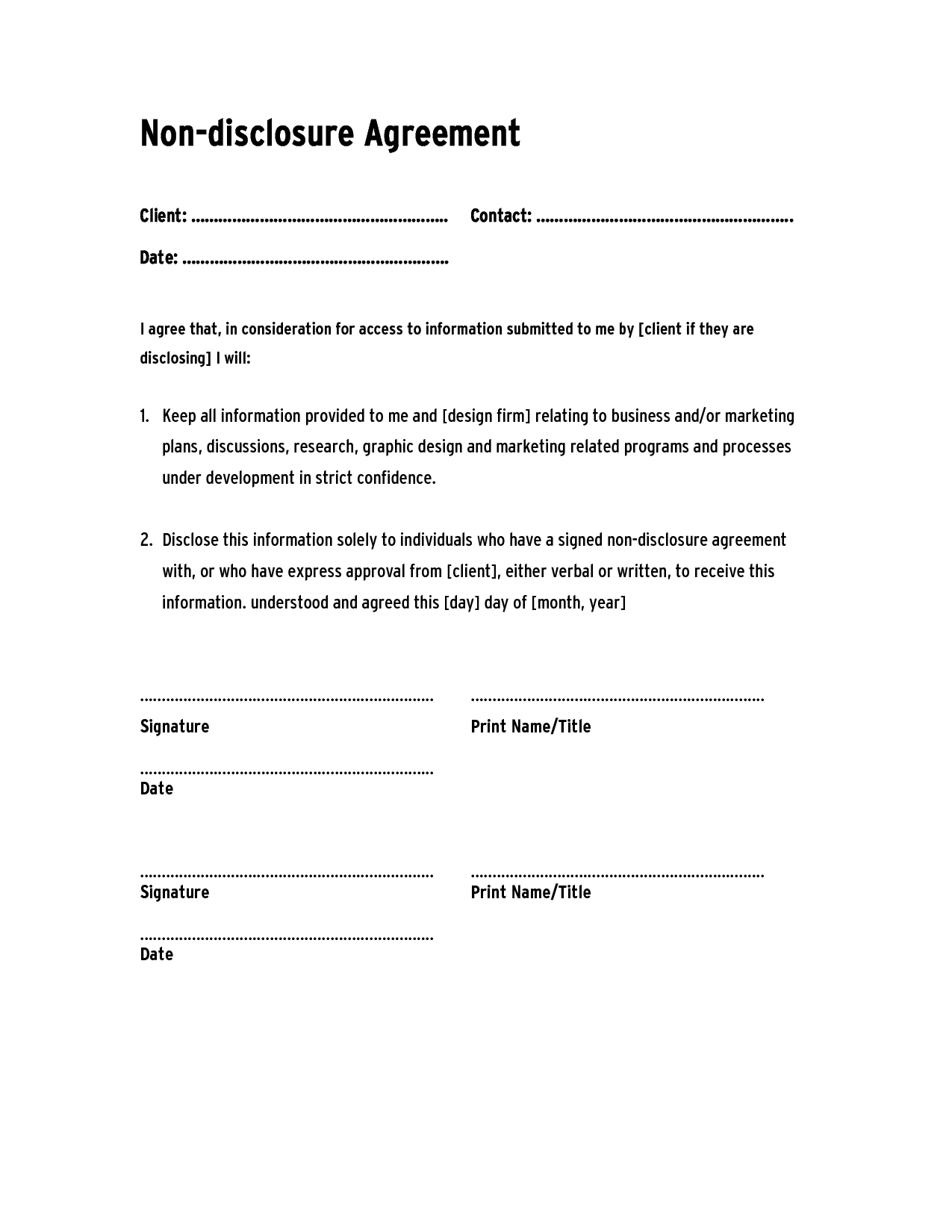 non disclosure agreement template ,confidentiality agreement