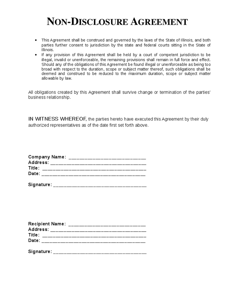 free nondiscloser agreement template non disclosure