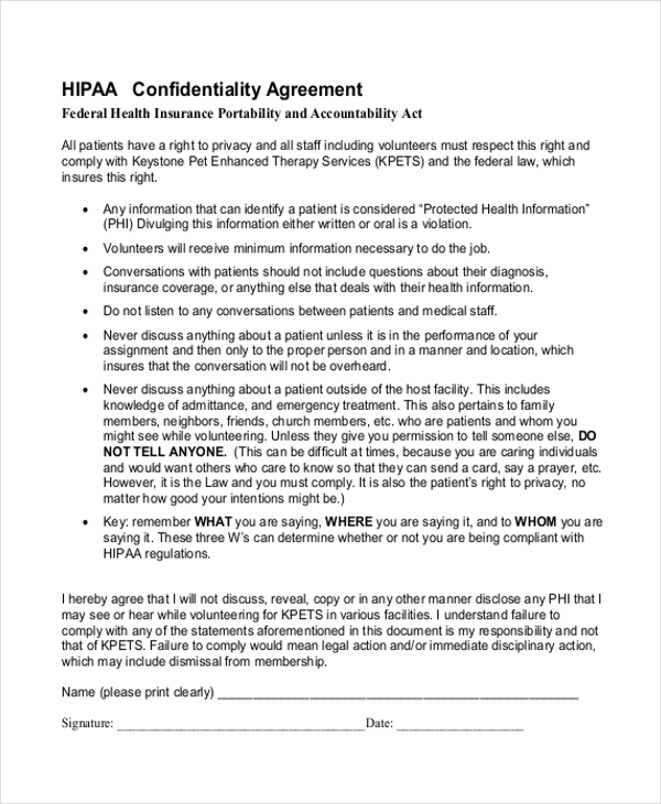 confidentiality agreement template doc hipaa confidentiality