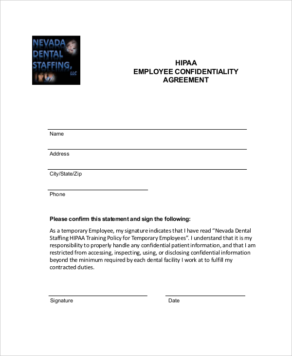 hipaa non disclosure agreement template hipaa confidentiality