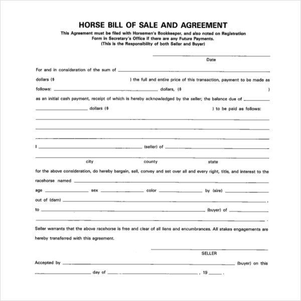 horse sale agreement gtld world congress