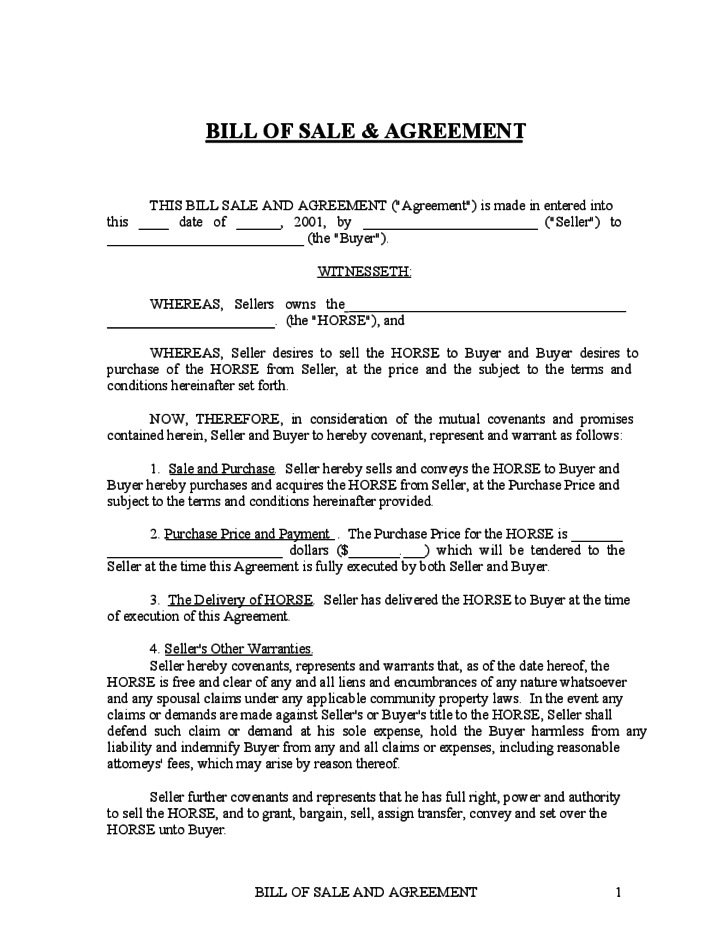 horse sale agreement template horse bill of sale free emsec.info
