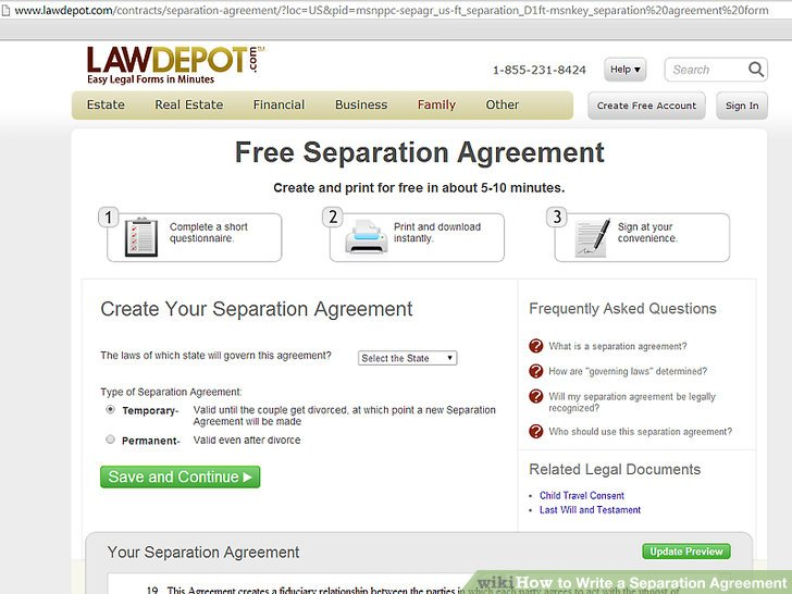 How to Write a Separation Agreement: 6 Steps (with Pictures)