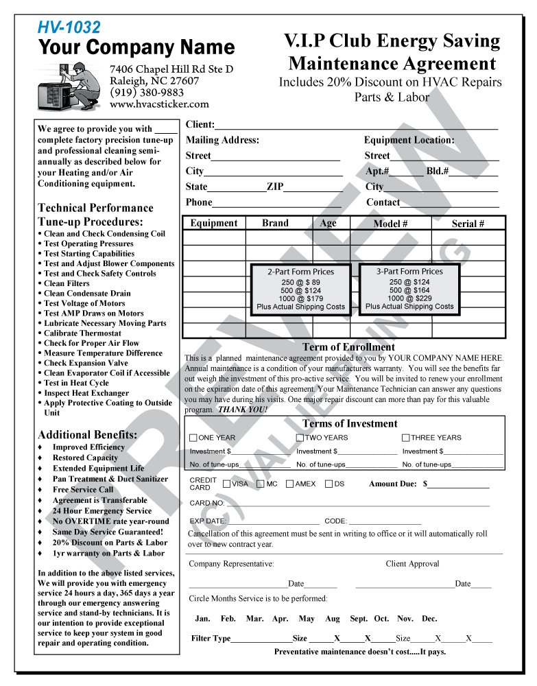 hvac maintenance agreement template free hvac maintenance