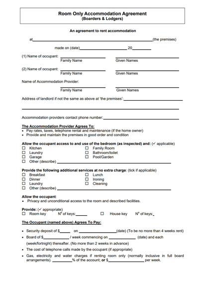 Room Rental Lease Agreement Template | charlotte clergy coalition
