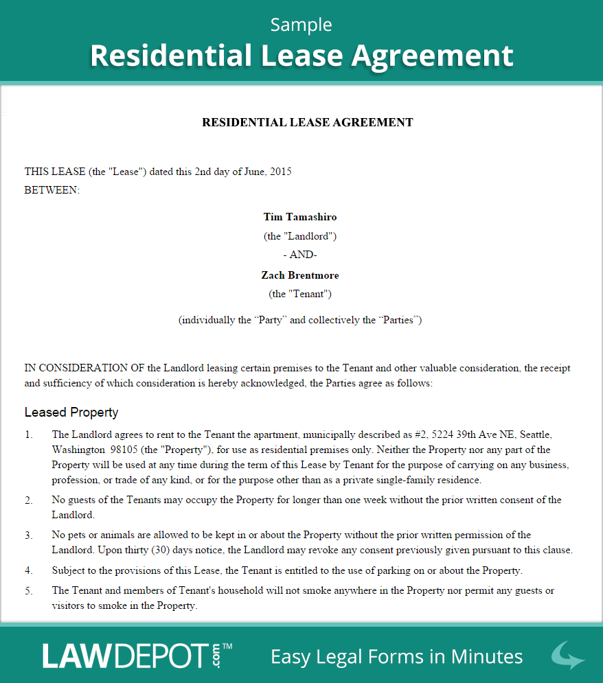 Residential Lease Agreement | Free Rental Lease Form (US) | LawDepot