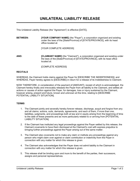 Unilateral Liability Release Template & Sample Form | Biztree.com