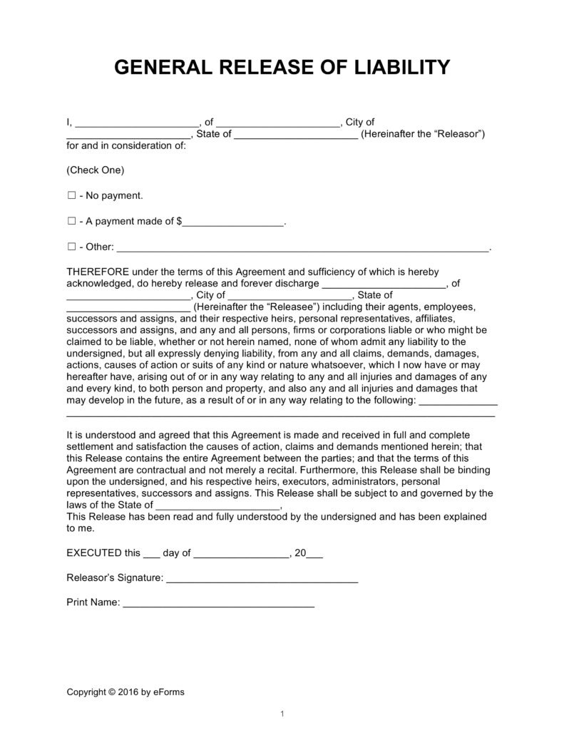 Release of Liability Forms 'Hold Harmless Agreements' | eForms