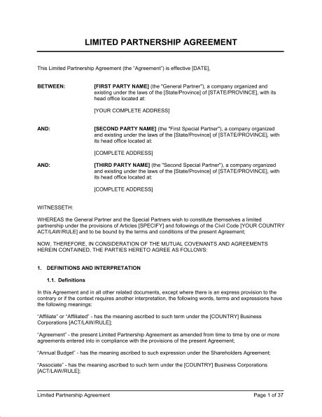 limited partnership agreement template limited partnership