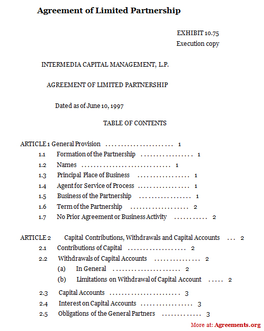 lp agreement template agreement of limited partnership sample