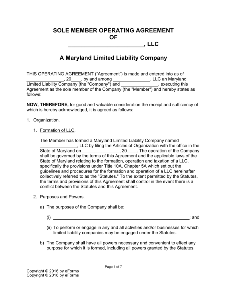 Maryland Single Member LLC Operating Agreement Form | eForms