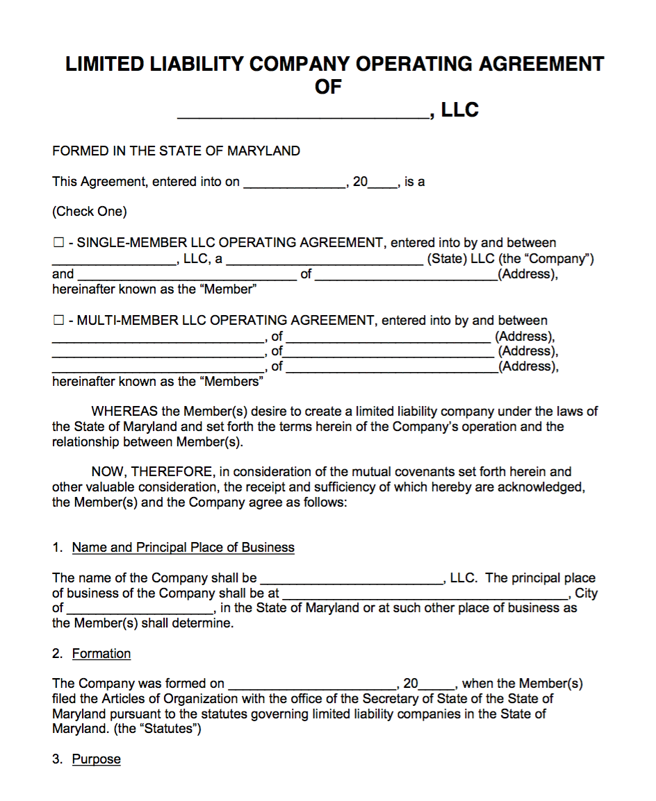 Free Maryland LLC Operating Agreement Template | PDF | Word |
