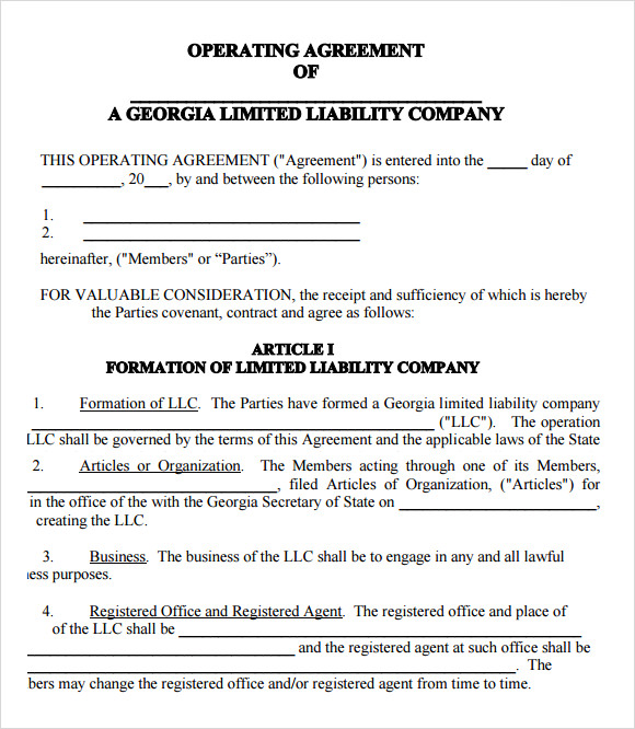 llc partnership agreement template llc operating agreement