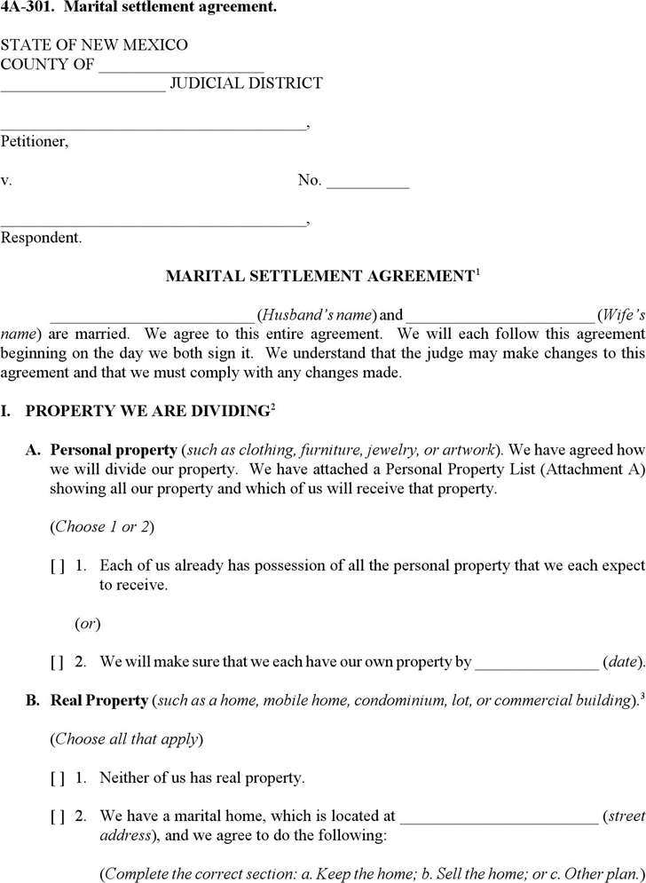 Nj Property Settlement Agreement Sample