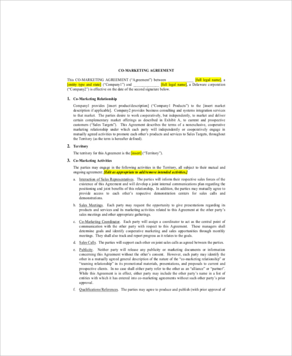 cooperative marketing agreement template marketing agreement