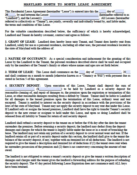 Free Maryland Residential Lease Agreement Template