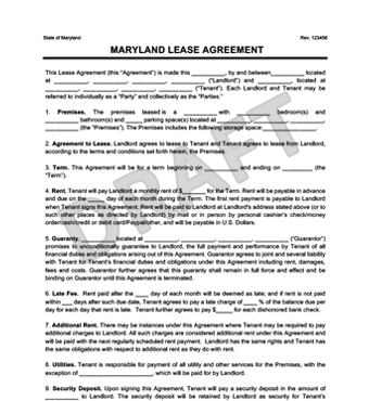 free maryland residential lease agreement template maryland