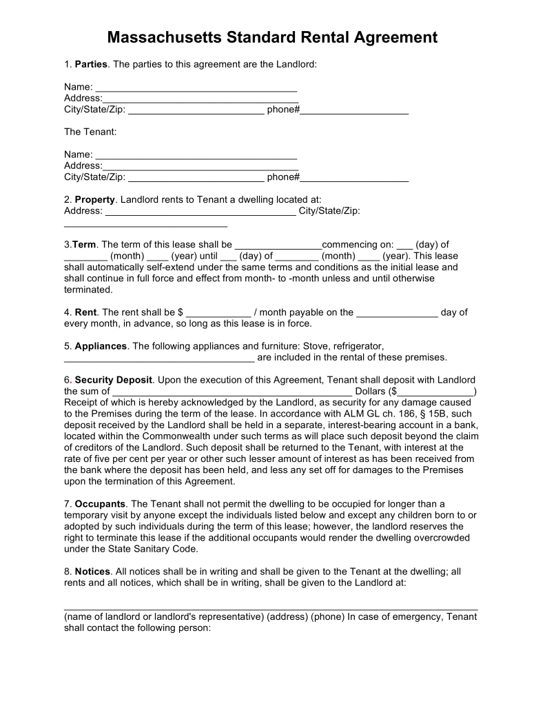 Free Massachusetts Standard Residential Lease Agreement Template