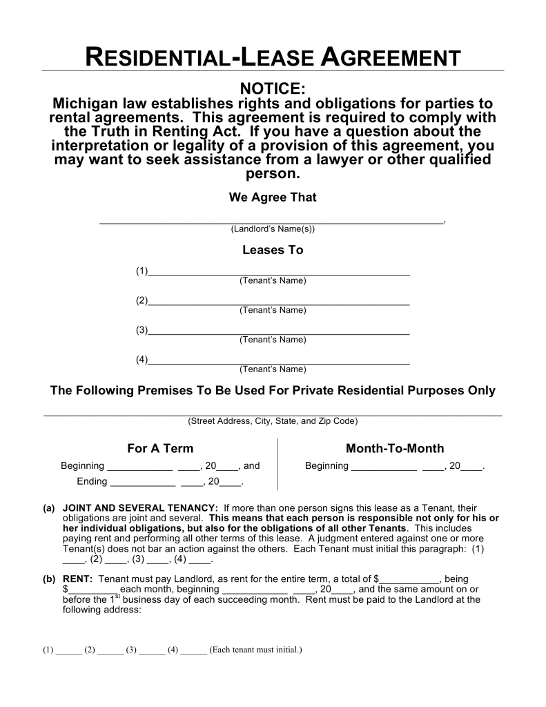 Free Michigan Residential Lease Agreement Template Word   PDF