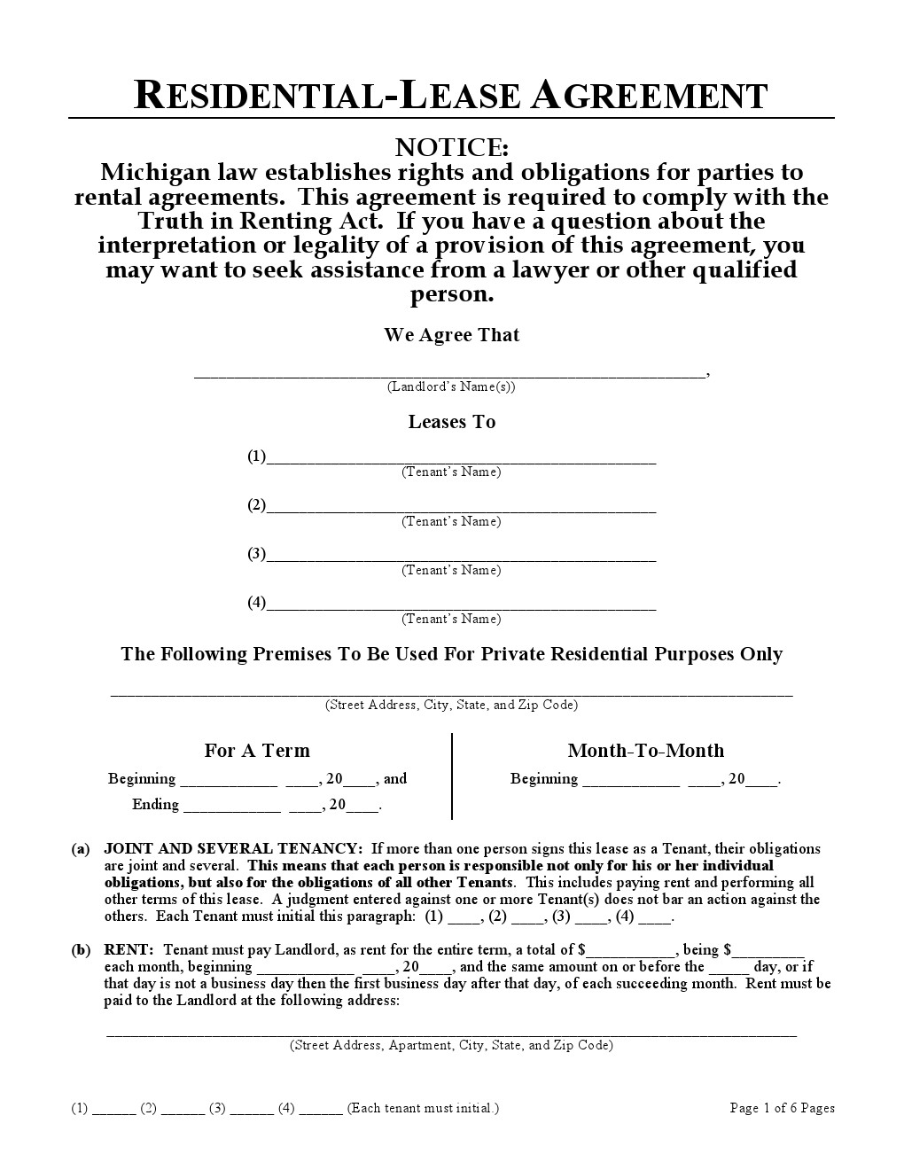 Download Free Michigan Residential Lease Agreement Printable