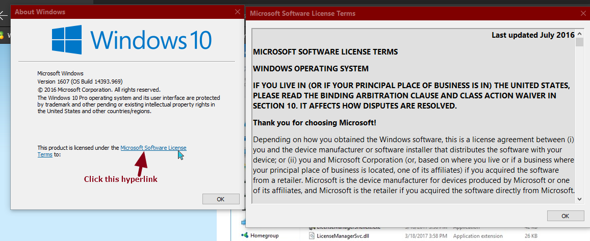 Find Microsoft End User License Agreement (EULA) in Windows 10