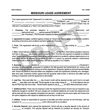 Missouri Residential Lease/Rental Agreement | Create & Download