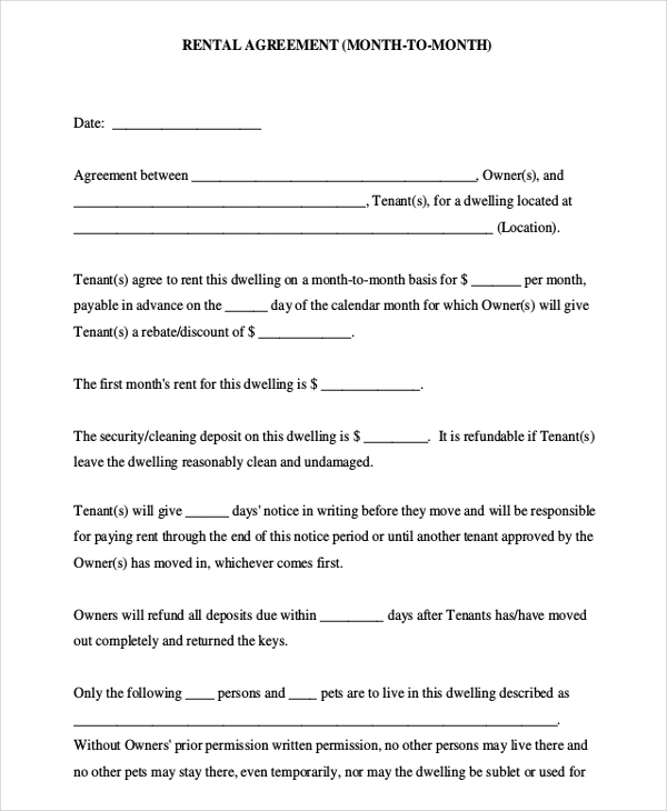 rental agreement template month to month 10 month to month rental