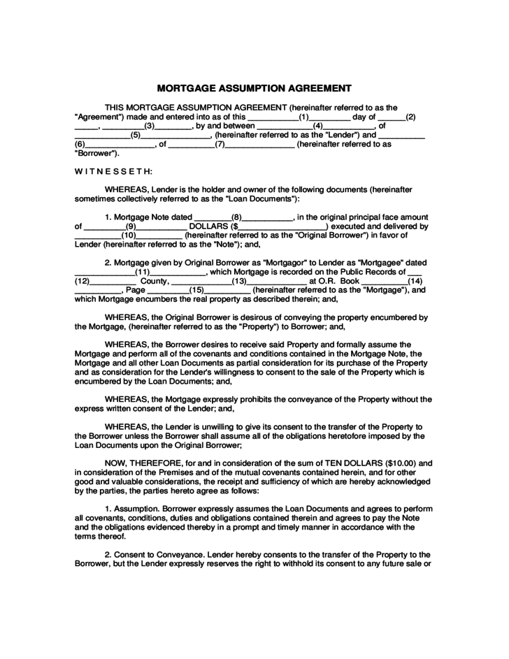 mortgage assumption agreement template mortgage assumption