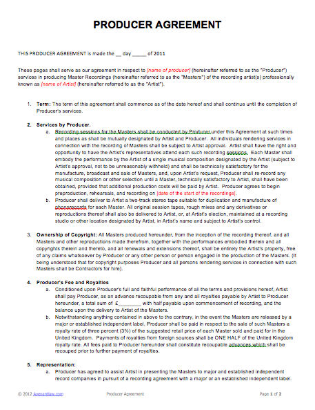 music producer agreement template film producer agreement template