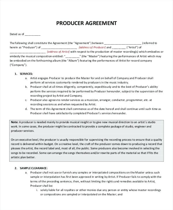 music producer agreement template music contract template music