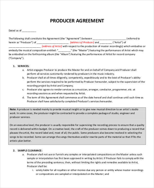 producer agreement template 4 music contract samples templates in