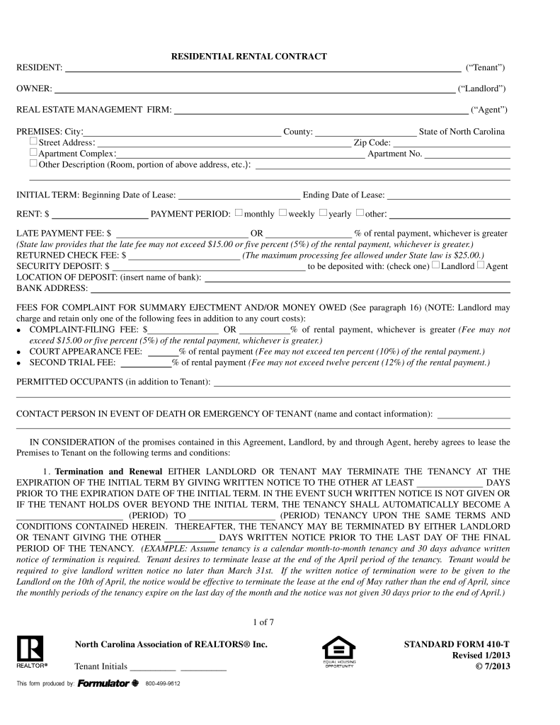 North Carolina Realtors Residential Lease Agreement | FORM 410 T
