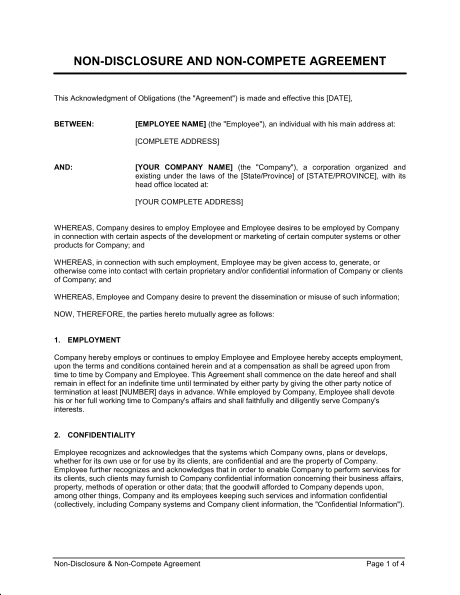 Non Disclosure and Non Compete Agreement Template & Sample Form