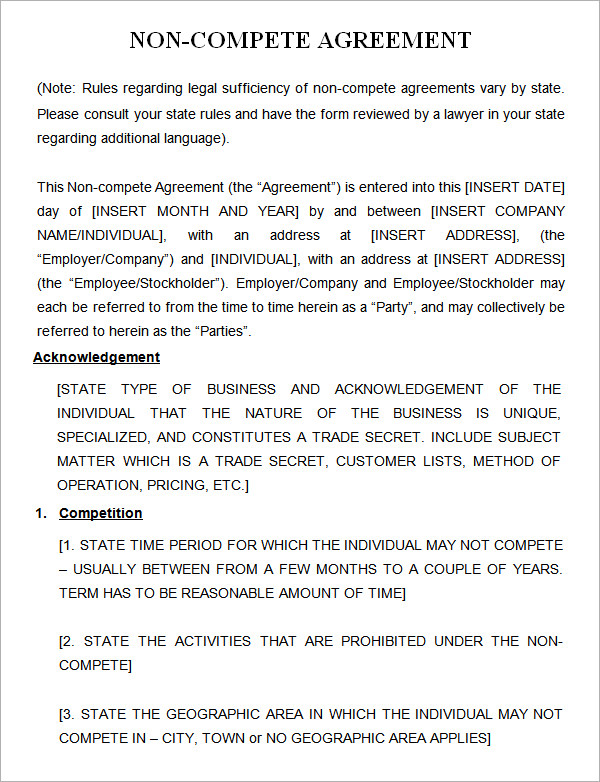 Non Compete Agreement Florida Template | direnisteyiz3.org
