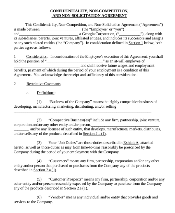 Confidentiality Non Compete Agreement Sample For Business Cooperation