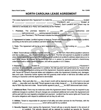 North Carolina Residential Lease Agreement | Create & Download