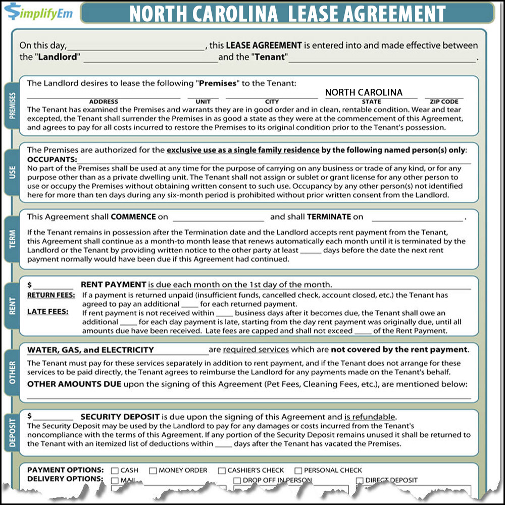 North Carolina Lease Agreement