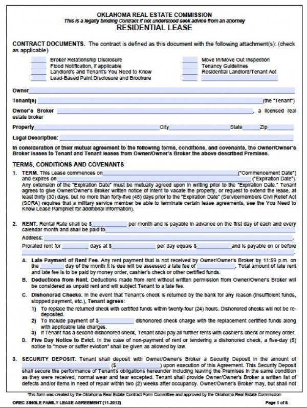 Free Oklahoma Standard One (1) Year Residential Lease Agreement