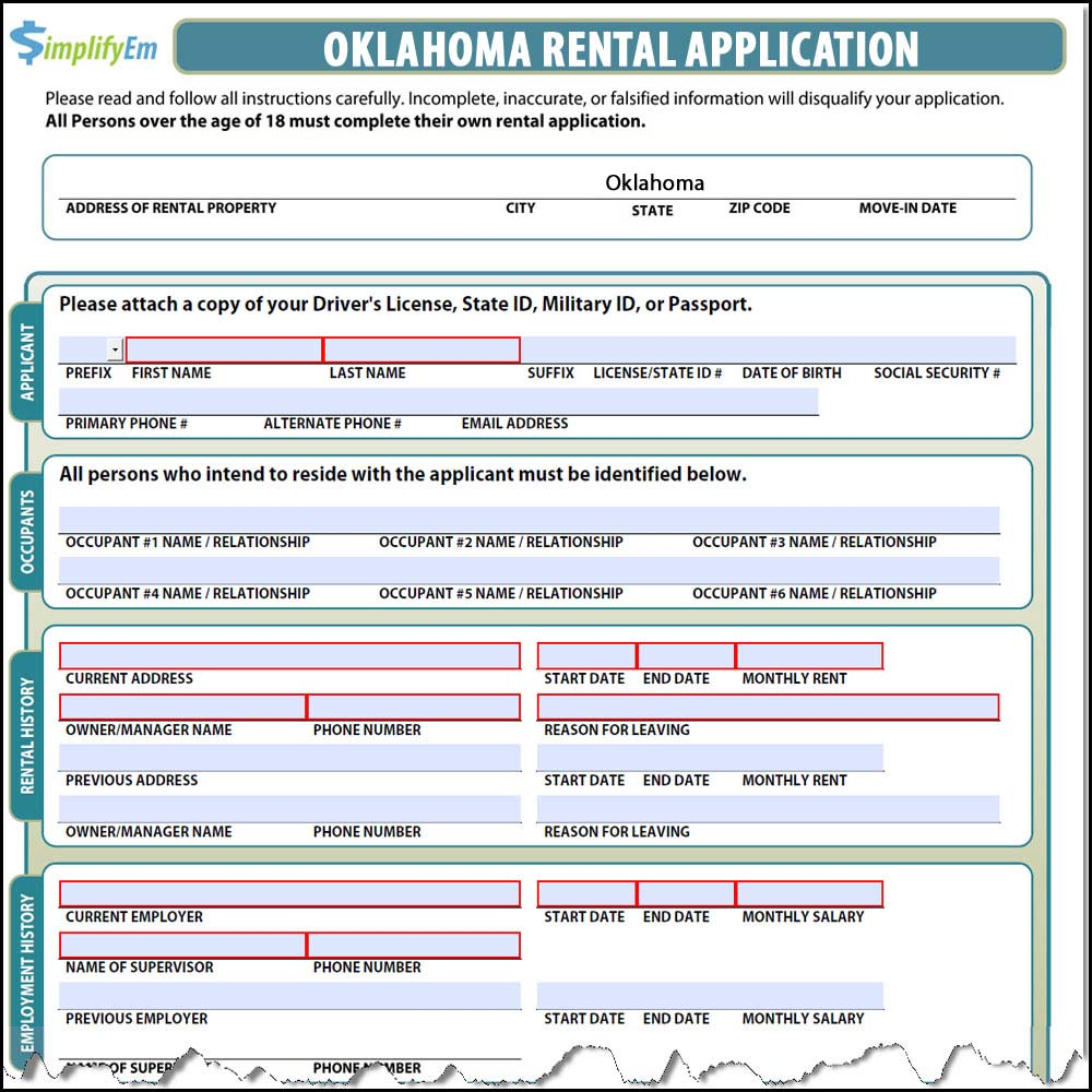 Oklahoma Rental Application