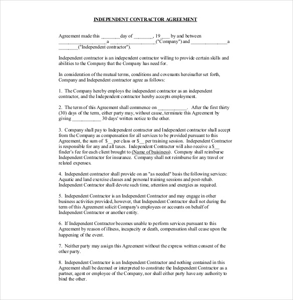 one page independent contractor agreement Editable, Fillable