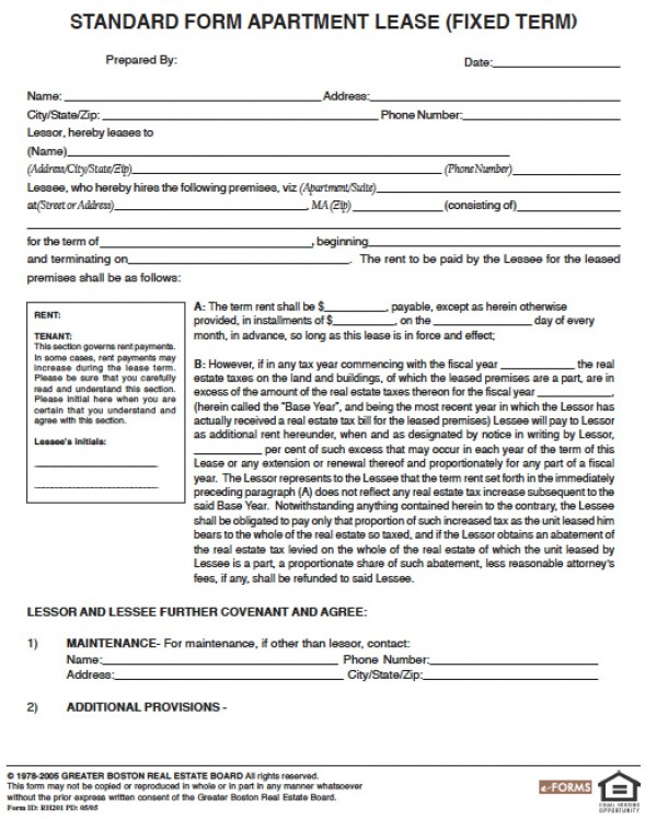 ma residential lease agreement template free massachusetts one 1
