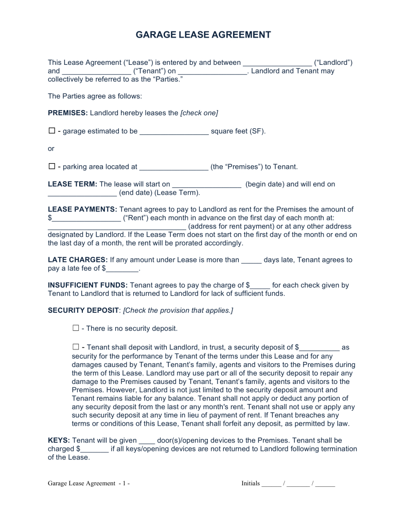 Free Garage Parking Rental Lease Agreement Template Word Pdf