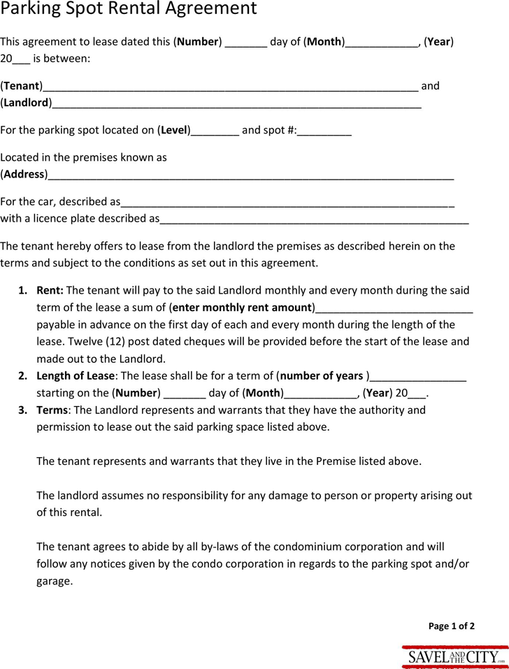 parking lot agreement template sample parking lease agreement