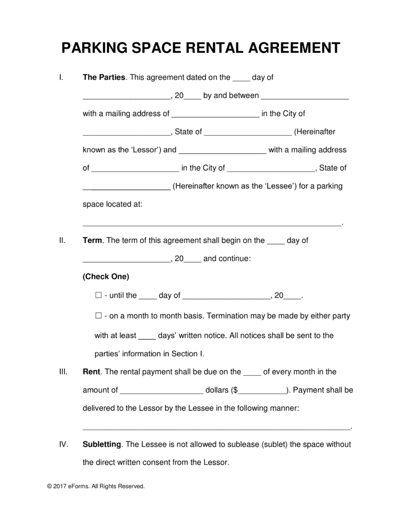 Free Parking Space Rental Lease Agreement Template PDF | Word